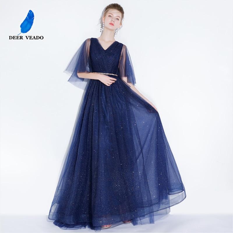 DEERVEADO Elegant A Line V Neck Tulle Evening Dress Long Tulle Evening Party Dresses Prom Gown Vestido De Festa YS421