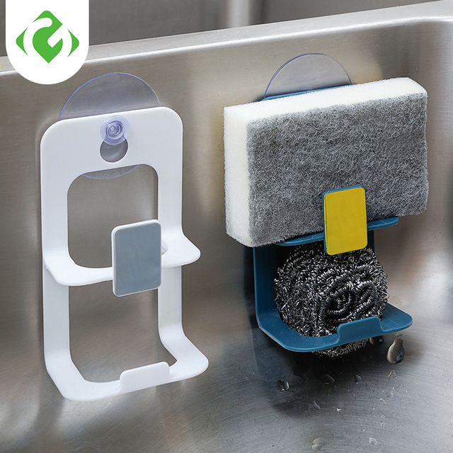 Double layer Suction Cup Sink Drain Rack Wall Sucker Sponge Storage Drying Holder Kitchen Sink Soap Stand Dish Cloth Organizer