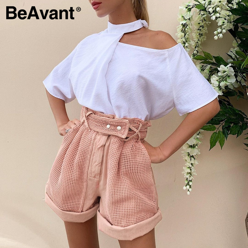 BeAvant High Fashion Pink Women Shorts Summer Hollow Out Sexy Short 2020 Female High Waist Casual Shorts Buttom Cotton Zipper