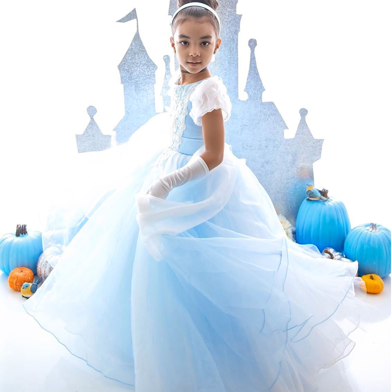 Princess Dresses Cinderella Costumes Pageant Ball Gown Halloween Christmas Party Children Clothing