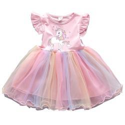 Bebê meninas unicórnio vestido crianças roupas 1 2 3 4 5 anos bebê vestido de aniversário verão crianças menina casual vestidos de princesa