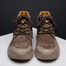 Trampki męskie Sneaker Casual męskie męskie sportowe wyprzedaż męskie męskie buty męskie na czarne obuwie skórzane oddychające outdoor new fashion tanie tanio Kalorzze Desert Boots Prawdziwej skóry ANKLE Stałe Dla dorosłych Syntetyczny Okrągły nosek RUBBER Wiosna jesień Niska (1 cm-3 cm)
