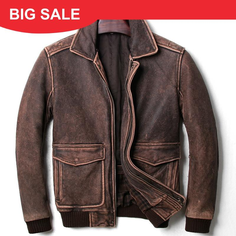 2020 Vintage Brown Men A2 Pilot Leather Jacket Wool Collar Size XXL Genuine Thick Cowhide Russian Aviator Coat FREE SHIPPING