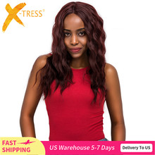 الدانتيل الجبهة الاصطناعية خصلات الشعر المستعار الجزء الأوسط 99J اللون الأحمر X TRESS 20 بوصة طويلة لينة الطبيعية موجة العصرية الدانتيل الباروكة للنساء السود
