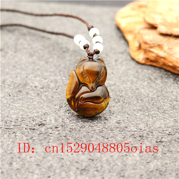 Natural Chinese Jade Stone Fox Pendant Tiger Eye Necklace Fashion Accessories Charm Jewelry Carved Amulet Gifts For Women Men