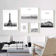 París Torre Eiffel pintura negro blanco abstracto montaña Marina pared arte lienzo imágenes póster impresiones sala de estar Pop Decoración