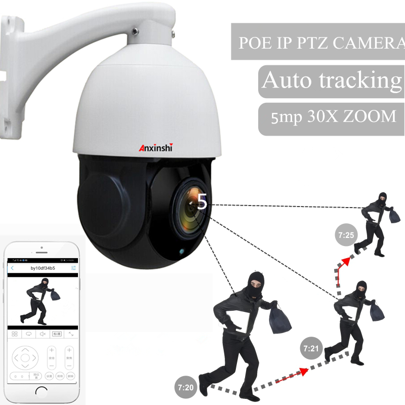 4 inch waterproof 5MP PTZ IP camera 30X zoom H.265 Onvif P2P IR 120M voice alarm camera POE auto tracking high speed dome camera image