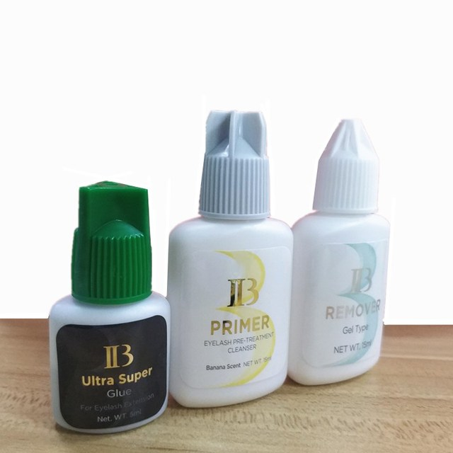 IB 1 Set Ultra Super Glue Lash Primer Lash Remover for Eyelash Extensions Glue Fast Dry LongTime Korea Black False eyelash Glue 2