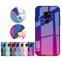 10pcs Gradient Tempered Glass Phone Case Back Cover For Huawei Nova5 P30 pro Honor 20