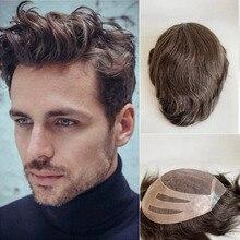 Perruque brésilienne 100% naturelle pour homme, cheveux Remy, ondulées, 510 couleurs, 10x8 pouces