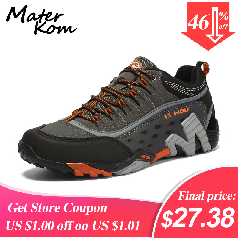 35-45 Outdoor Lover Trekking Shoes Men Waterproof Hiking Shoes Mountain Boots Genuine Leather Woodland Hunting Tactical Shoes