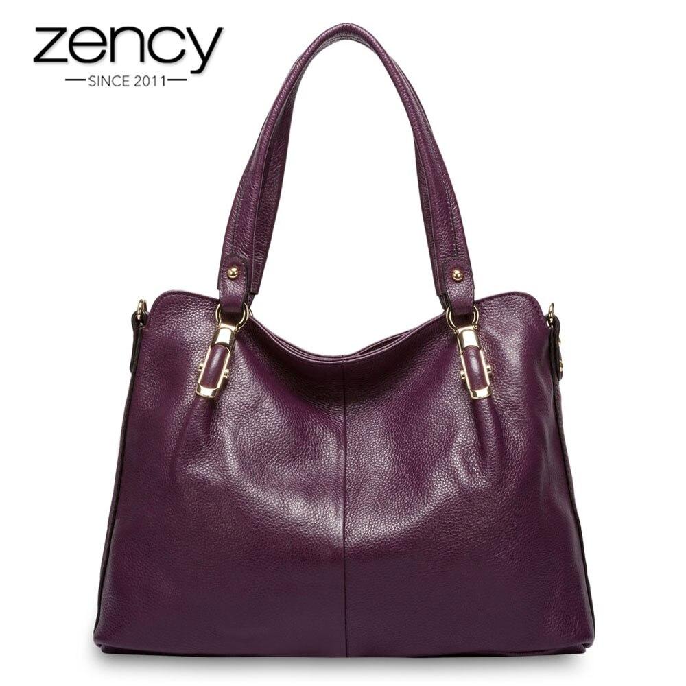 Zency Luxury Purple Women Shoulder Bag 100% Genuine Leather Handbag Fashion Tote Hobos Purse Charm Lady Crossbody Messenger Bags