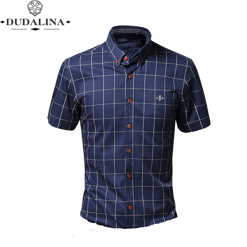 Fashion Blouse Shirt Plaid Male Social Dudalina Short Sleeve Slim Fit Shirt Men Clothing Embroidery White Male Cold