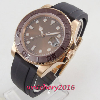 40mm BLIGER Brown Dial Rose Golden Plated Sapphire Glass Brushed Bezel Date MIYOTA 8215 Automatic Mechanical Men's Watch