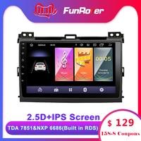 Funrover 2.5D+IPS 2 din Android 9.0 Car DVD Radio Multimedia for Toyota Prado 120 2004 2009 Car autoradio Navigation GPS stereo