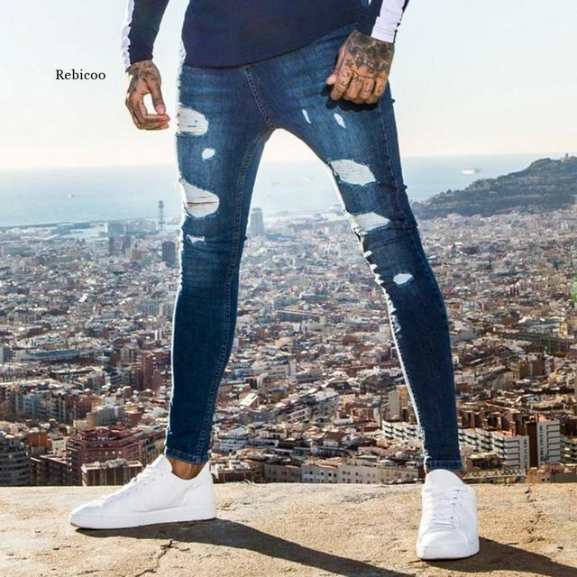 2021 New Fashion Streetwear Mens Jeans Destroyed Ripped Design Pencil Pants Ankle Skinny Men Full Length Jeans 2