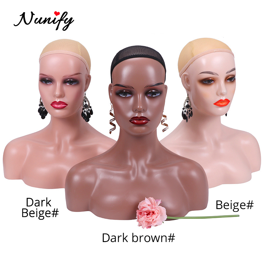 Beige Brown Two Colors Skin Mannequin Head With Shoulders Hat Glasses Wig Display Stand With Ear Holes Nunify Supply Female Head