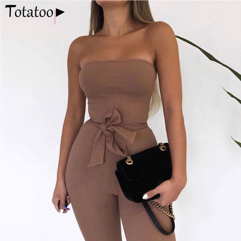 Totatoop Off Shoulder Cotton Knitted Skinny Jumpsuit Women 2020 Summer Sleeveless Sexy Rompers With Belt Ladies Overalls