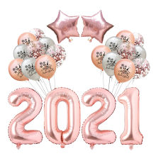 2021 Gelukkig Nieuwjaar Ballonnen 24 Stks/set Ster Rose Gold Helium Ballon Latex Ballonnen Vrolijk Kerstfeest Globos Decor Supplies(China)