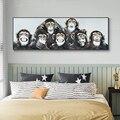 Современная Абстрактная забавная картина маслом обезьяны на холсте плакаты и принты настенная живопись для гостиной домашний декор