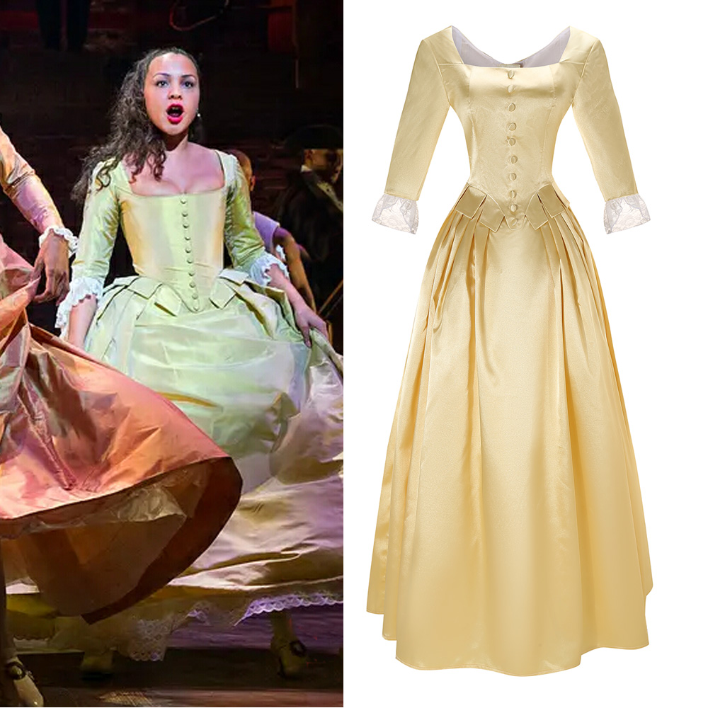 Musical Rock Opera Hamilton Hamilton Satin Stage Dress Concert Peggy Cosplay Costume Women Yellow Gown Fancy