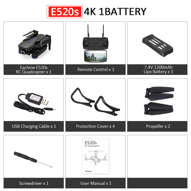 Eachine E520S E520 gps FOLLOW ME wifi FPV Квадрокоптер с 4 K/1080 P HD широкоугольная камера Складная Высота удержания прочный Радиоуправляемый Дрон - Цвет: E520S 4K 1Battery