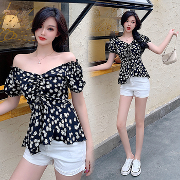 new womens tops and blouses women s floral print camisas mujer v neck short flare sleeve ruffles cold shoulder chiffon blouse COIGARSAM 4XL Plus Size Cute Floral Print blouse women Short Sleeve Belt V-Neck blusas womens tops and blouses White Black