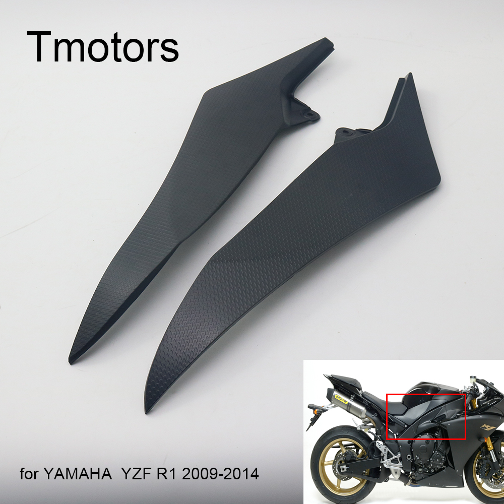 Motorcycle Black Gas Tank Side Trim Insert Cover Panel Fairing Cowl For Yamaha YZF R1 2009 - 2014 2010 2011 2012 2013