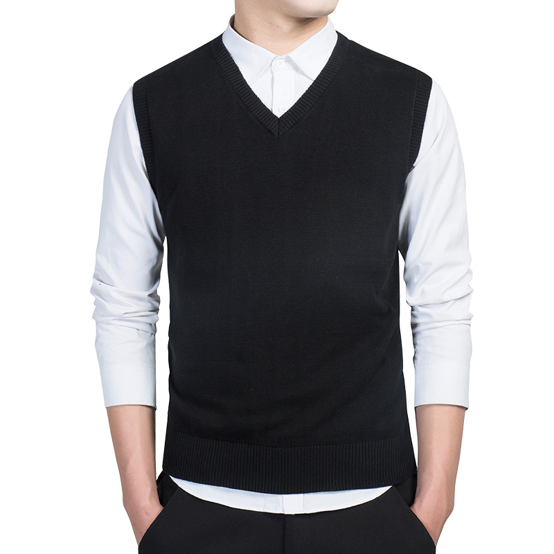 Cotton Pullovers Vest Mens Sweater Autumn V Neck Slim Sweaters Vest Men's Warm Sleeveless Sweater Slim Style Casual M-3xl