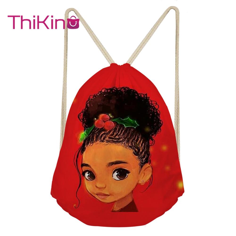 Thikin Afro Baby Girl  Casual Sack Drawstring Bag For Girl Travel Backpack Toddler Softback Lady Beach Mochila DrawString Bag