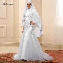 Vestido de boda indio con Hijab de encaje con cuentas, traje de Novia de sirena, manga larga, musulmán, Novia, Blanco, 2020