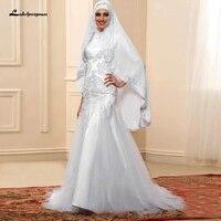 Indian Wedding Dress With Hijab Lace Beaded Mermaid Wedding Gown Long Sleeve Muslim Bridal Dress 2020 Vestido de Novia Blanco