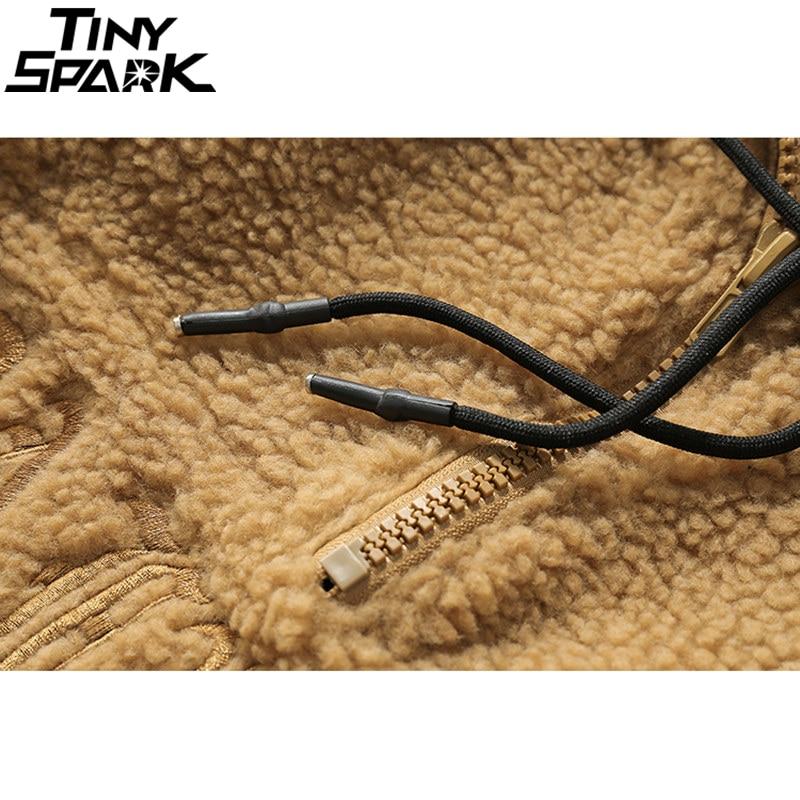 Image 5 - Hip Hop Lamb Wool Jacket Men Gothic Letter Embroidery Jackets Coat Fleece Autumn Winter 2019 Half Zip Jacket Streetwear Retro-in Jackets from Men's Clothing