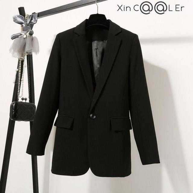 2021 Free Shipping Autumn Winter New Casual Blazer Coat Women Medium Long Slim Fashionable Versatile Business Suit Black Coats 1