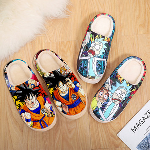 Slippers for women men kids Dragon Ball Z super Japanese anime naruto shippuden house home slides indoor fluffy flip flops boys