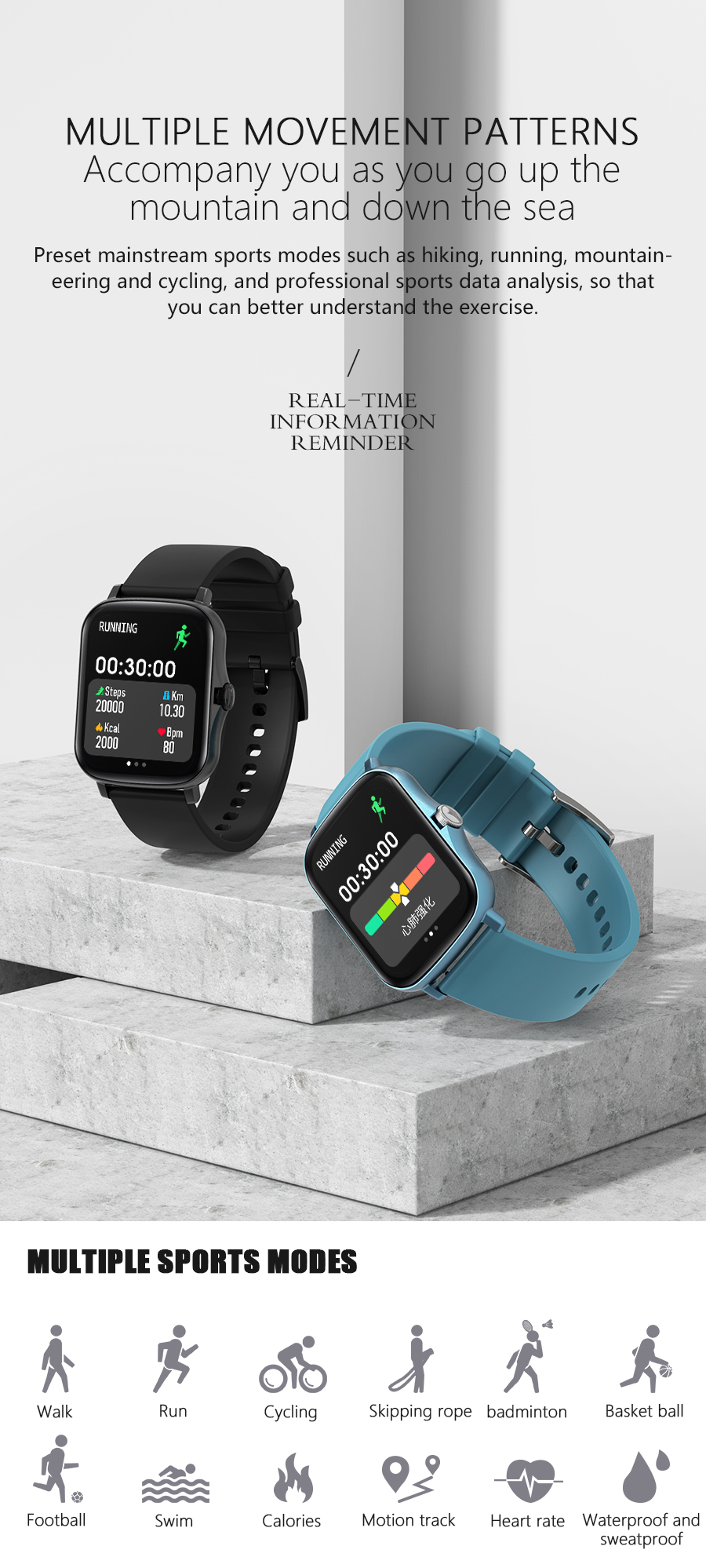 H9d23f76bd9b64d63bc926db44f461091o Full Touch Y20 Sport Smart Watch Men Women IP68 custom dial Heart Rate Fitness Tracker Smartwatch wristwatch GTS 2 P8 plus