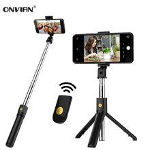 Onvian 3 in 1 kablosuz Bluetooth deklanşör ile Selfie sopa uzaktan Tripod telefon Monopod için iPhone Huawei Samsung için Oneplus