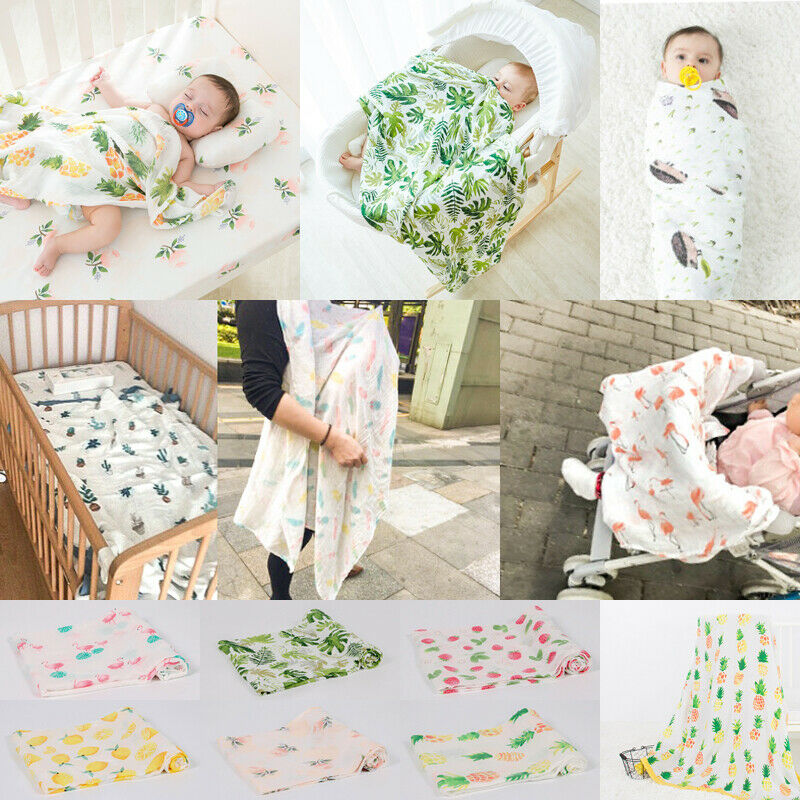 Baby Blankets Newborn Soft Large Cotton Muslin Swaddle Squares Blanket Cartoon Pattern Infant Wrap For Baby 120x120 Cm