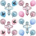 Бог благословит воздушные шары Иисус крест воздушные шары для мальчиков и девочек Первое Святое Причастие вечерние Baby Shower пасхальное плать...