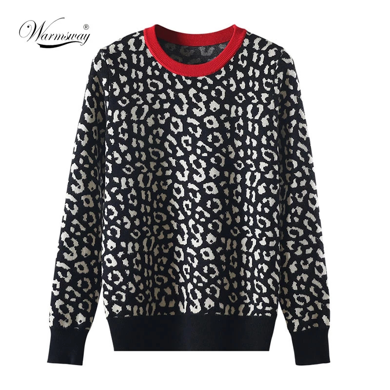Autumn winter women sweaters leopard knitted pullovers long sleeve Contrast Color crewneck jumpers sweter mujer C  026