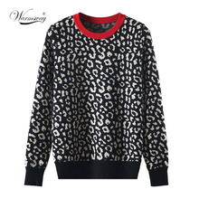 Autumn winter women sweaters leopard knitted pullovers long sleeve Contrast Color crewneck jumpers sweter mujer C- 026