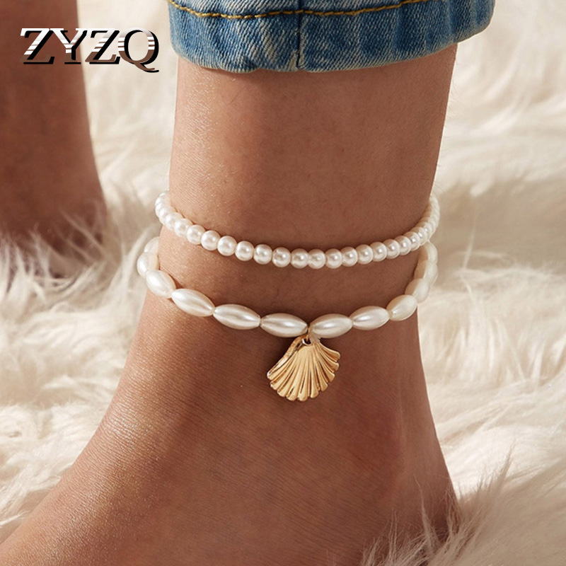 ZYZQ Bohemian Shell Beads Starfish Anklets for Women Beach Anklet Leg Bracelet Handmade Boho Foot Chain Jewelry Sandals Gift