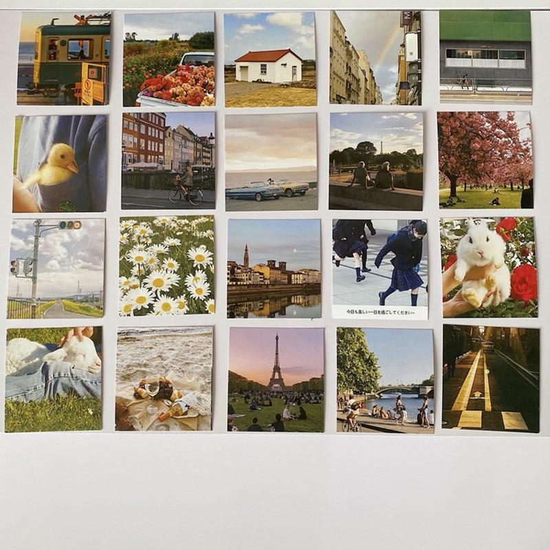 Ins Retro Interesting Creative Decorative Card 5sheets Square Postcard Diy Collocation Background Wa