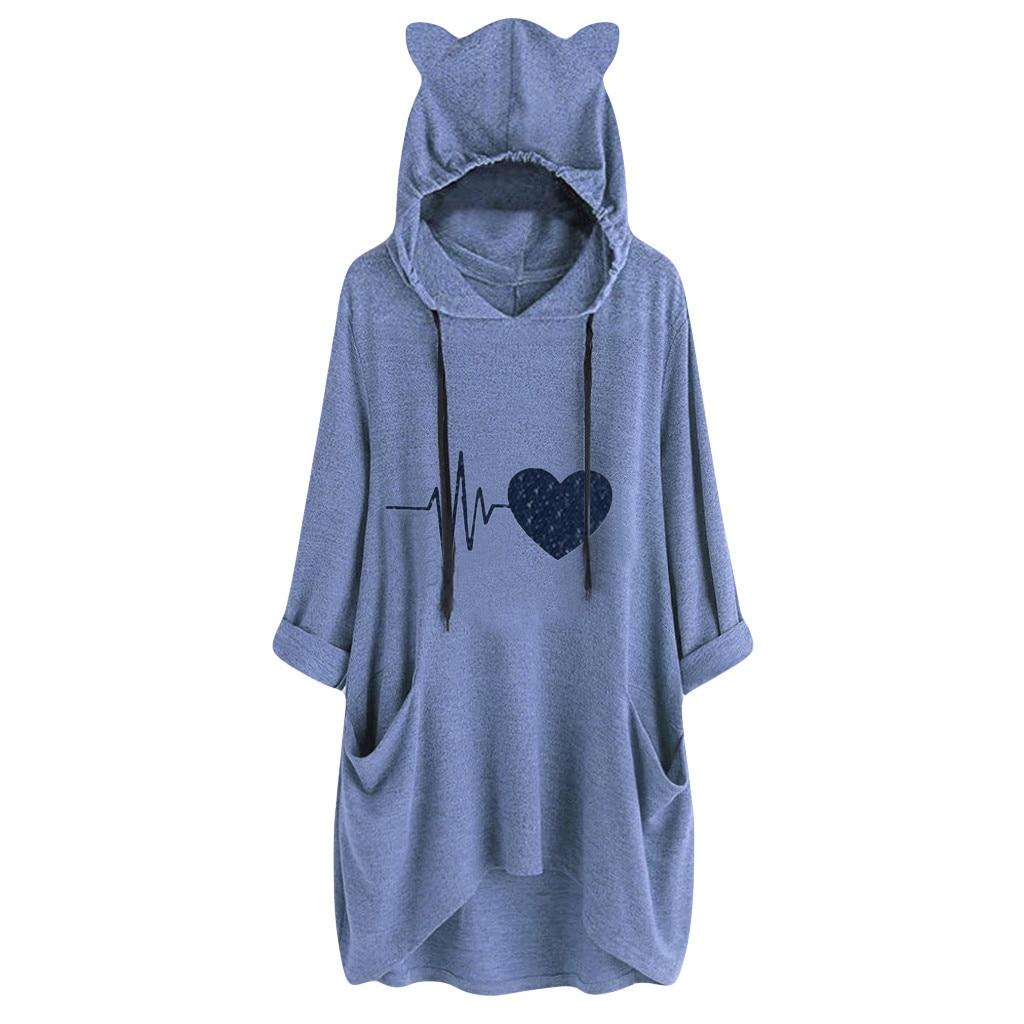 kawaii Cat Ear Oversized Long Hoodeies Streetwear Heart Rate Printed Hooded Sweatshirt Ladies Autumn Loose Hoody Pocket Blouse