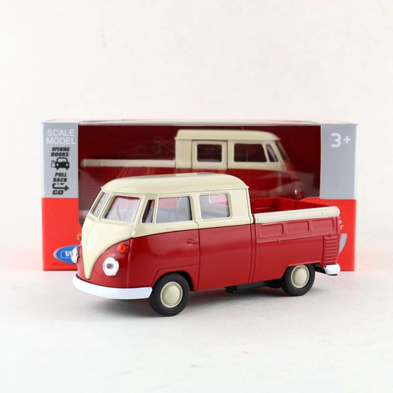 Welly DieCast Model/1:36 Scale/Volkswagen T1 Double Cabin Pick Up Truck Toy/Pull Back Educational Collection/Gift For Children