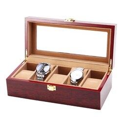 5 Slot/Grid zegarek pudełko przenośne drewniane wyświetlacz pojemnik uchwyt do przechowywania podróży organizator Case unikalny prezent