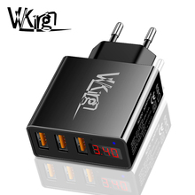 VVKing 3 USB Charger 3.4A Fast Charger Smart Digital Display EU US Plug Wall Charger For iPhone Samsung Xiaomi Phone Charging цены