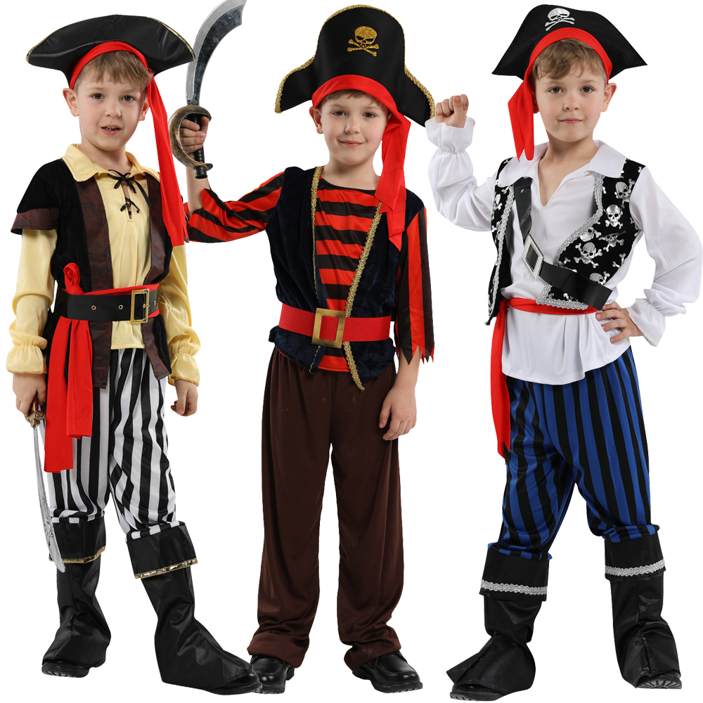 Halloween Pirate Cosplay Costumes For Boys Deluxe Cute Child Boy Girl Carnival Children Pirates Of The Caribbean Kids Dress Up