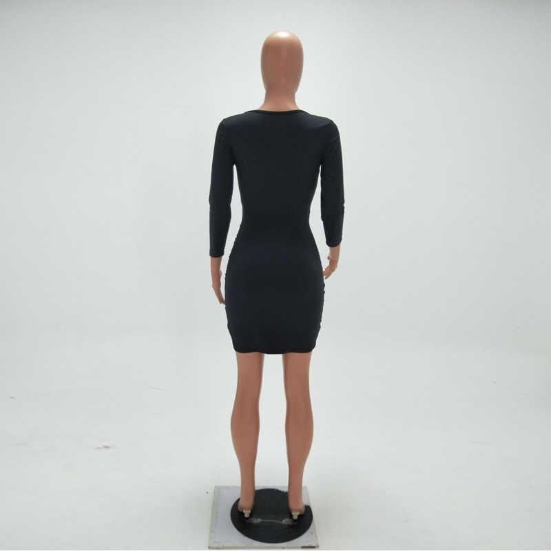 NewAsia jardin robe crayon solide à manches longues robe de Club femmes col en v Mini Sexy mince noir blanc automne dames robes de grande taille