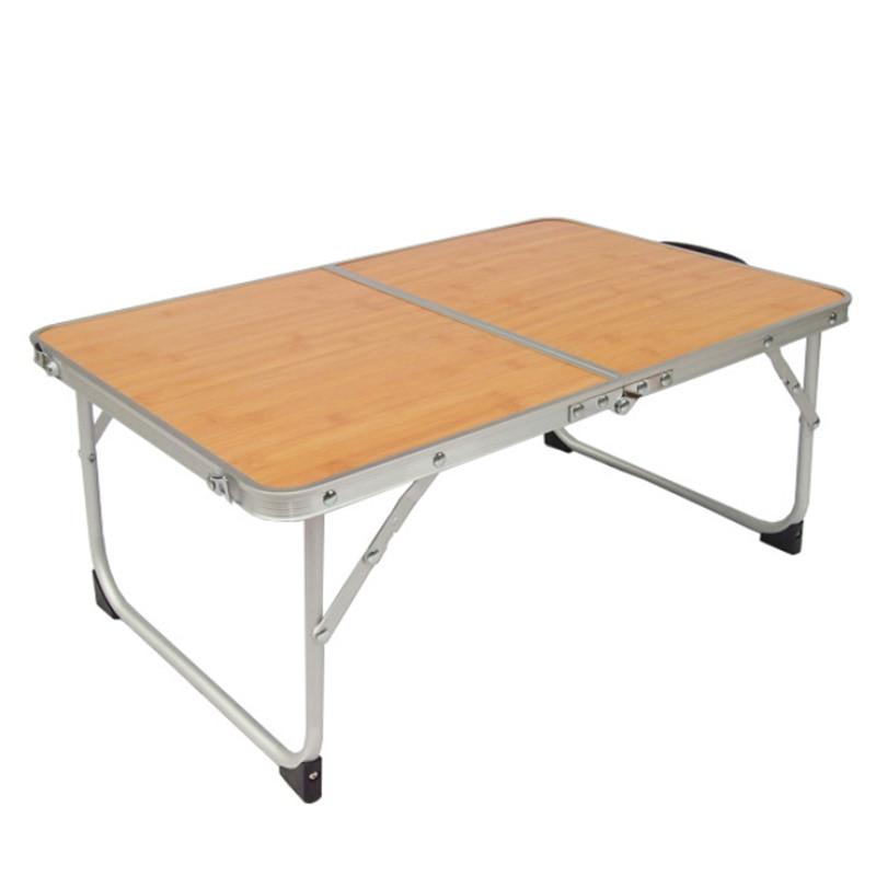 Portable Folding Table Portable Mini Picnic Bamboo Wood Grain Reading Rack For Sofa Floor Foldable